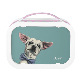 Cute Chihuahua with Bow Tie Drawing Lunch Box