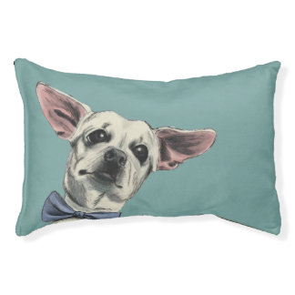 Cute Chihuahua with Bow Tie Drawing Pet Bed