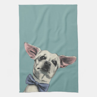 Cute Chihuahua with Bow Tie Drawing Tea Towel