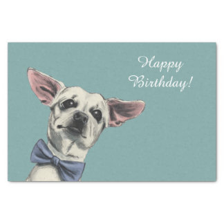 Cute Chihuahua with Bow Tie Drawing Tissue Paper