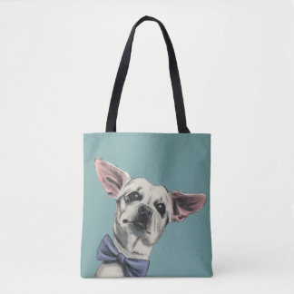 Cute Chihuahua with Bow Tie Drawing Tote Bag