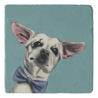 Cute Chihuahua with Bow Tie Drawing Trivet