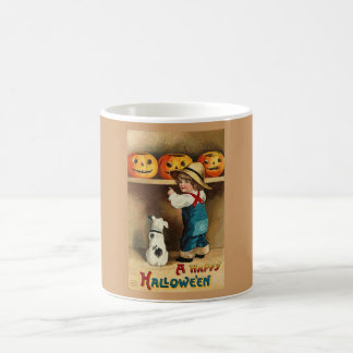 cute child, puppy, jackolanterns coffee mugs