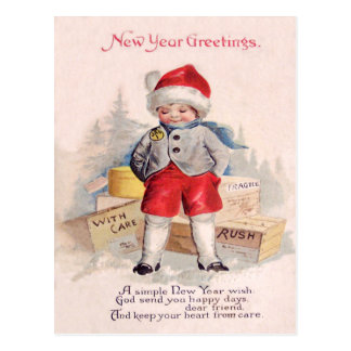 Cute Child Snow Packages Mail Postcard
