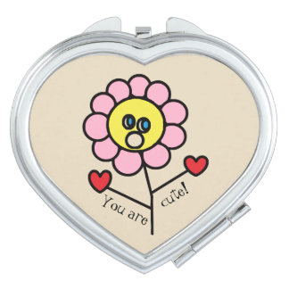 Cute Childish Pink Flower Drawing Vanity Mirrors