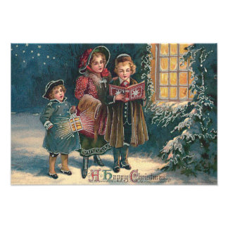 Cute Children Carolers Caroling Photographic Print