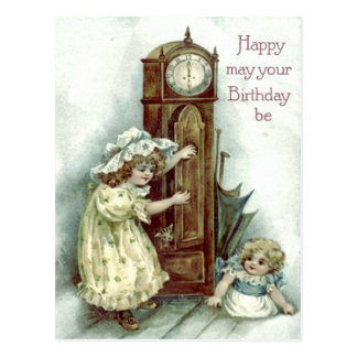 Cute Children Grandfather Clock Kitten Postcard