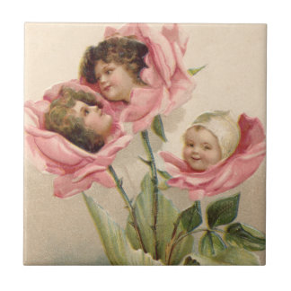 Cute Children Pink Roses Rose Small Square Tile