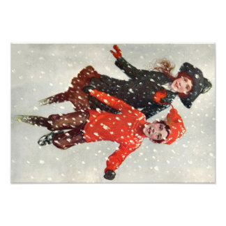 Cute Children Playing In Snow Art Photo