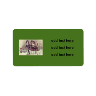 Cute Children Playing Snow Winter Address Label