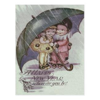 Cute Children Under Umbrella Rain Postcard
