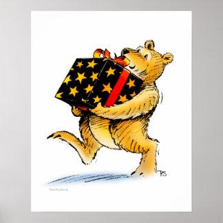 Cute Children's Book Teddy Bear Birthday Art Poster