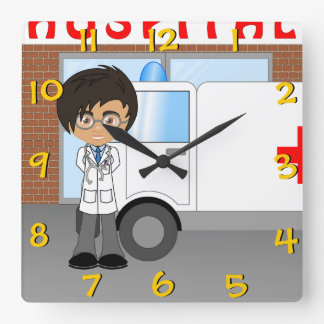 Cute Child's Cartoon Hospital Doctor Character Square Wall Clock