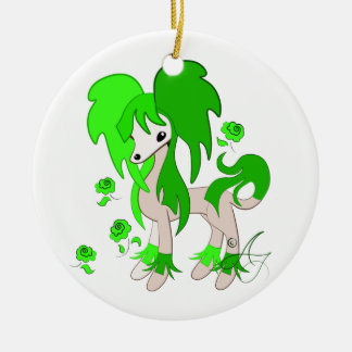 Cute Chinese Crested Green Round Ceramic Decoration