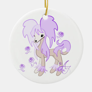Cute Chinese Crested Lavender Round Ceramic Decoration