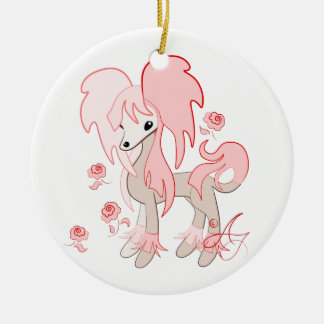 Cute Chinese Crested Pastel Pink Christmas Ornament