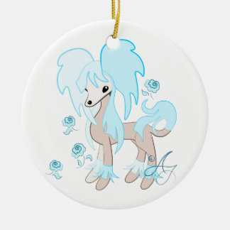 Cute Chinese Crested Pastel Vlue Christmas Ornament