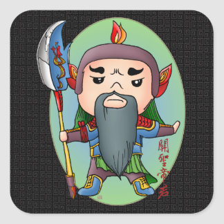Cute Chinese God Of Success Square Sticker
