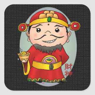 Cute Chinese God Of Wealth Square Sticker
