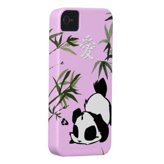 "Cute Chinese ""Love"" Panda with Bamboos iPhone 4 Case"