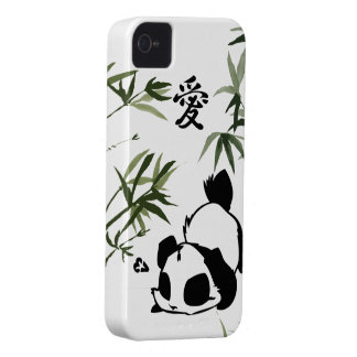 "Cute Chinese ""Love"" Panda with Bamboos iPhone 4 Cover"