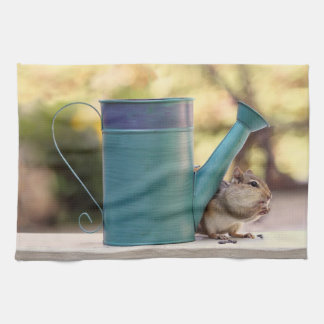Cute Chipmunk and Watering Can Picture Towel