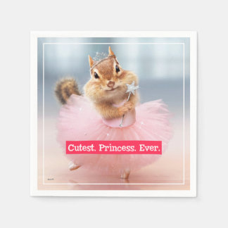 Cute Chipmunk Ballerina in tutu at Dance Studio Disposable Serviette