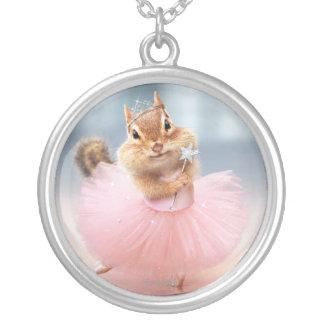 Cute Chipmunk Ballerina in tutu at Dance Studio Silver Plated Necklace