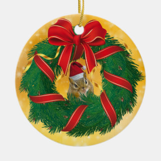 Cute Chipmunk Christmas Wreath Christmas Ornament