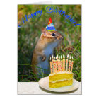 Cute chipmunk in party hat birthday card