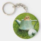 Cute Chipmunk in Teapot Key Ring
