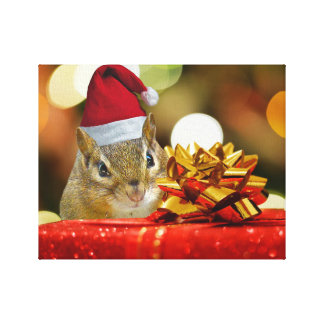 Cute Chipmunk Merry Christmas Canvas Print
