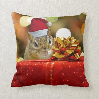 Cute Chipmunk Merry Christmas Cushion