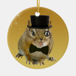 Cute Chipmunk New Year's Eve Party Christmas Ornament