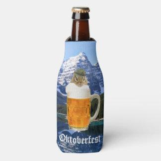 Cute Chipmunk Oktoberfest Mountains Bottle Cooler