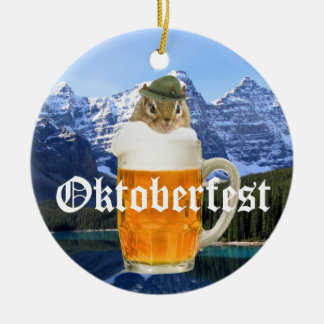 Cute Chipmunk Oktoberfest Mountains Christmas Ornament