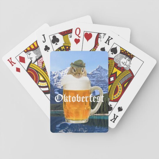 Cute Chipmunk Oktoberfest Mountains Playing Cards