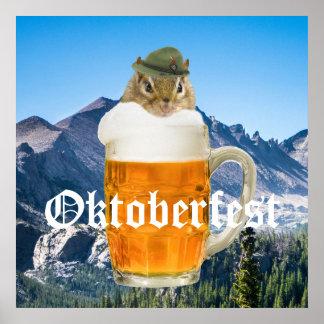 Cute Chipmunk Oktoberfest Mountains Poster
