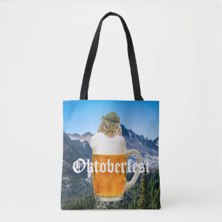 Cute Chipmunk Oktoberfest Mountains Tote Bag