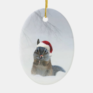Cute Chipmunk Santa with Candy Cane Ceramic Oval Decoration
