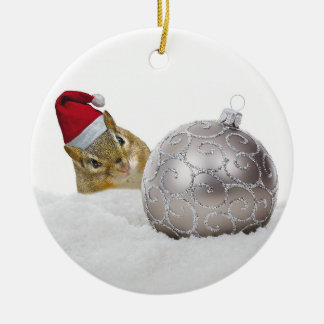 Cute Chipmunk Silver and Snow Christmas Holiday Christmas Ornament