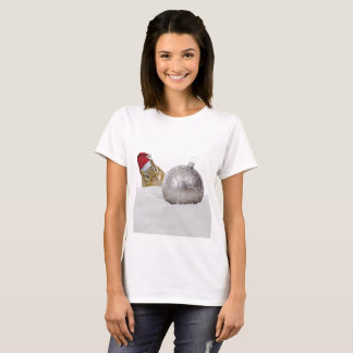Cute Chipmunk Silver and Snow Christmas Holiday T-Shirt