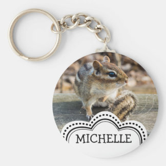 Cute Chipmunk Sitting on Wooden Rail in Forest Basic Round Button Key Ring