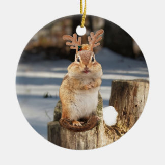 Cute Chipmunk with Antlers Christmas Ornament