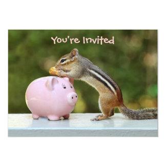 Cute Chipmunk with Funny Money Piggy Bank Picture 13 Cm X 18 Cm Invitation Card