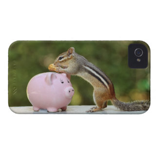 Cute Chipmunk with Funny Money Piggy Bank Picture iPhone 4 Case-Mate Cases