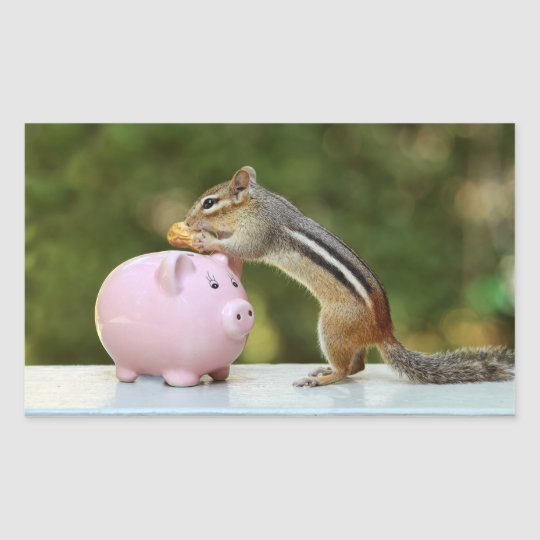 Cute Chipmunk with Funny Money Piggy Bank Picture Rectangular Sticker