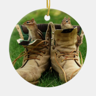 Cute Chipmunks in Boots Round Ceramic Decoration