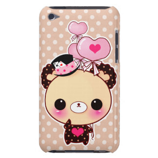 Cute chocolate bear with heart-shaped balloons barely there iPod cover