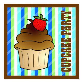 Cute Chocolate Cupcake Birthday Party Invite